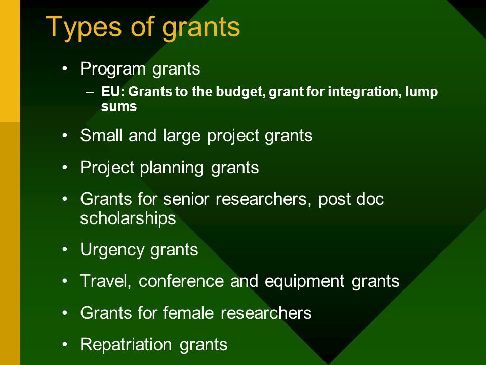Types of grants Program grants –EU: Grants to the budget, grant for integration, lump sums Small and large project grants Project planning grants Grants for senior researchers, post doc scholarships Urgency grants Travel, conference and equipment grants Grants for female researchers Repatriation grants