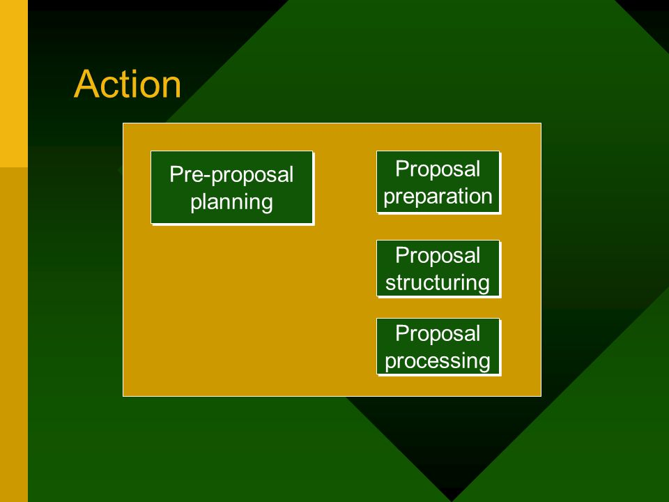 Action Pre-proposal planning Proposal preparation Proposal processing Proposal structuring