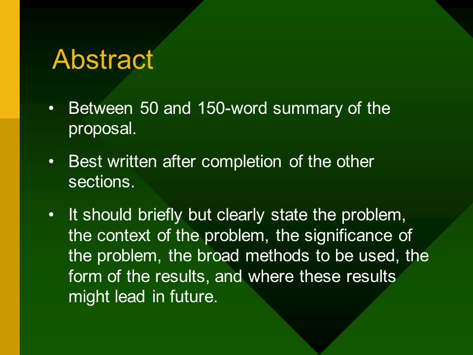 Abstract Between 50 and 150-word summary of the proposal.