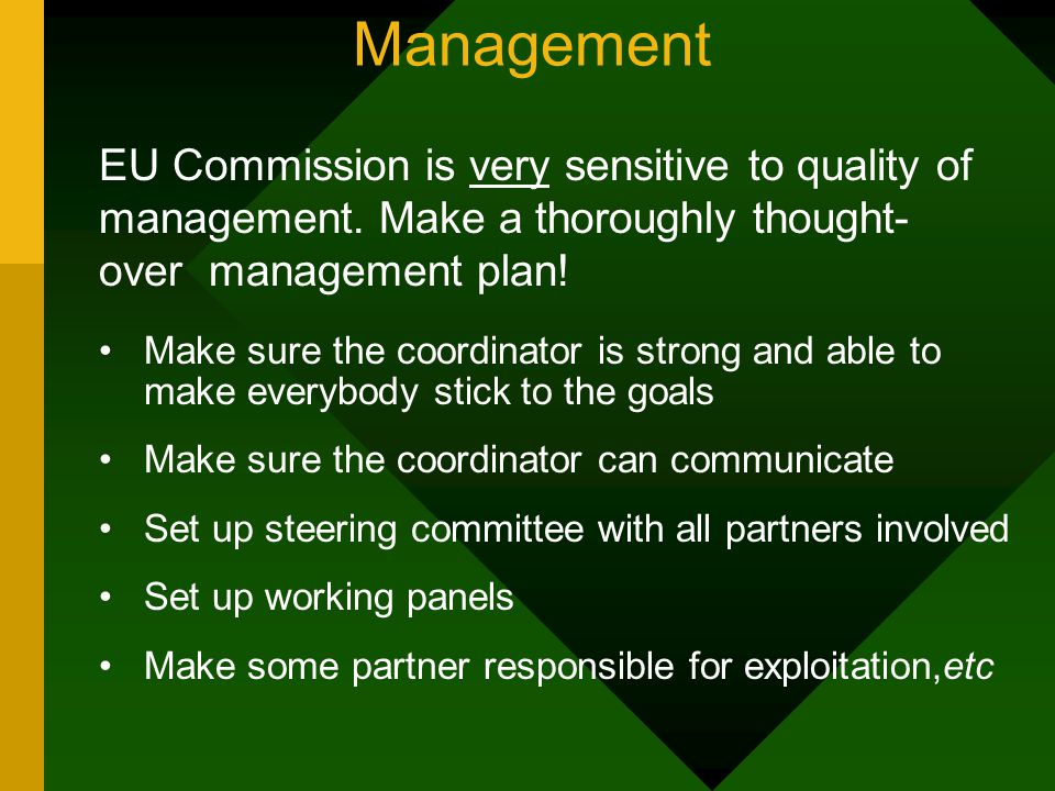 Management Make sure the coordinator is strong and able to make everybody stick to the goals Make sure the coordinator can communicate Set up steering committee with all partners involved Set up working panels Make some partner responsible for exploitation,etc EU Commission is very sensitive to quality of management.