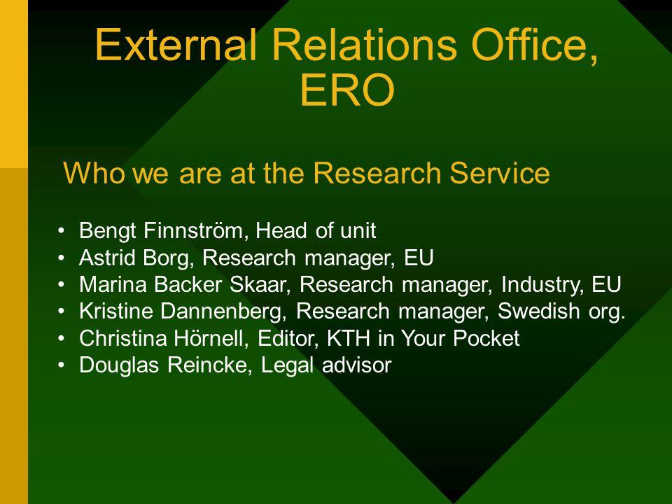 External Relations Office, ERO Bengt Finnström, Head of unit Astrid Borg, Research manager, EU Marina Backer Skaar, Research manager, Industry, EU Kristine Dannenberg, Research manager, Swedish org.