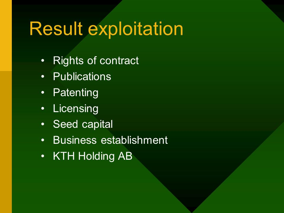 Result exploitation Rights of contract Publications Patenting Licensing Seed capital Business establishment KTH Holding AB