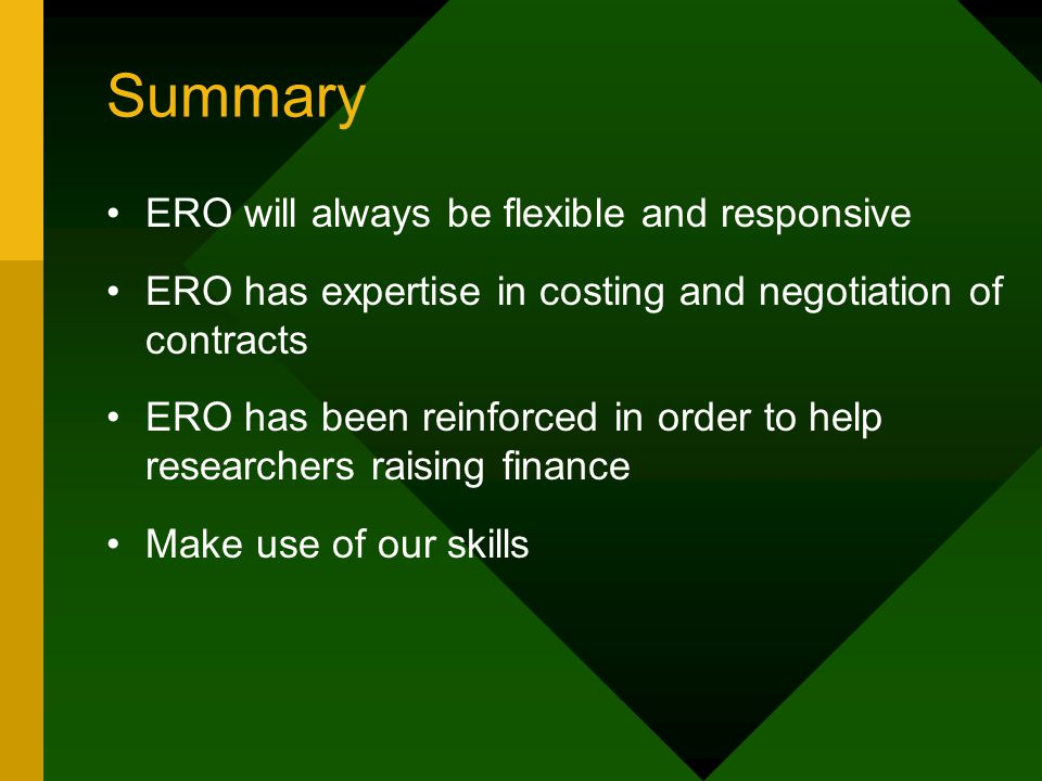 Summary ERO will always be flexible and responsive ERO has expertise in costing and negotiation of contracts ERO has been reinforced in order to help researchers raising finance Make use of our skills