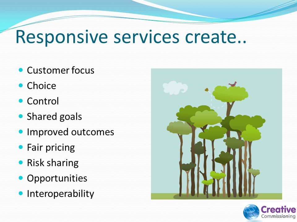 Responsive services create.. Customer focus Choice Control Shared goals Improved outcomes Fair pricing Risk sharing Opportunities Interoperability