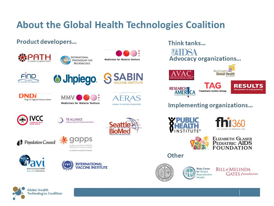 About the Global Health Technologies Coalition Product developers… Think tanks… Advocacy organizations… Other Implementing organizations…