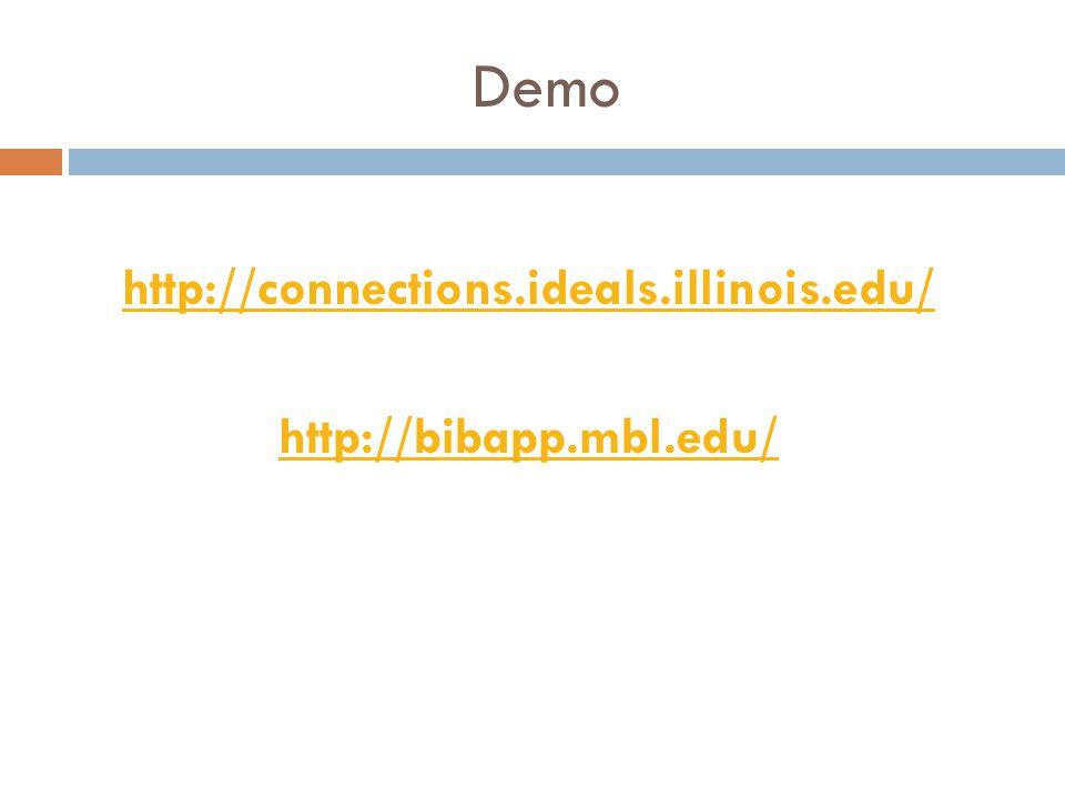 Demo http://connections.ideals.illinois.edu/ http://bibapp.mbl.edu/