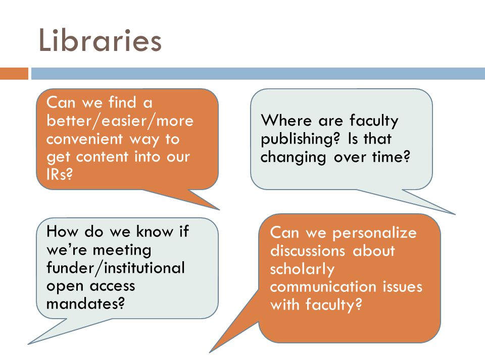 Libraries Can we find a better/easier/more convenient way to get content into our IRs.