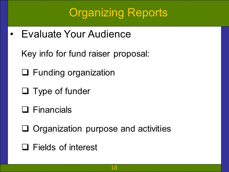 18 Organizing Reports Evaluate Your Audience Key info for fund raiser proposal:  Funding organization  Type of funder  Financials  Organization pu