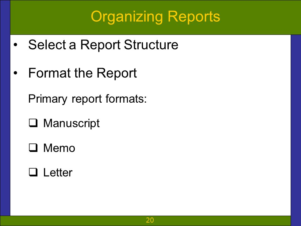 20 Organizing Reports Select a Report Structure Format the Report Primary report formats:  Manuscript  Memo  Letter