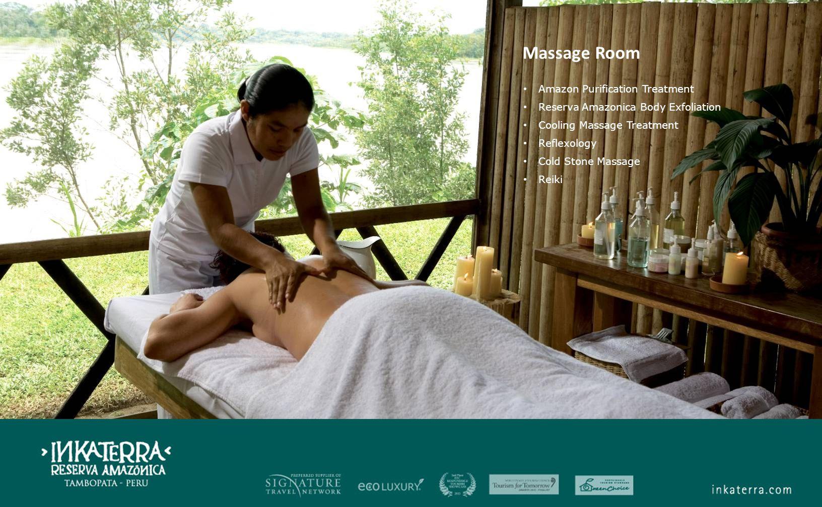 Massage Room Amazon Purification Treatment Reserva Amazonica Body Exfoliation Cooling Massage Treatment Reflexology Cold Stone Massage Reiki