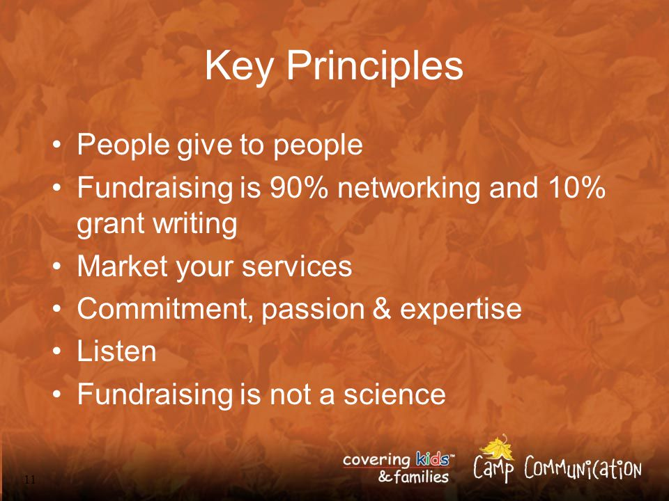 11 Key Principles People give to people Fundraising is 90% networking and 10% grant writing Market your services Commitment, passion & expertise Listen Fundraising is not a science