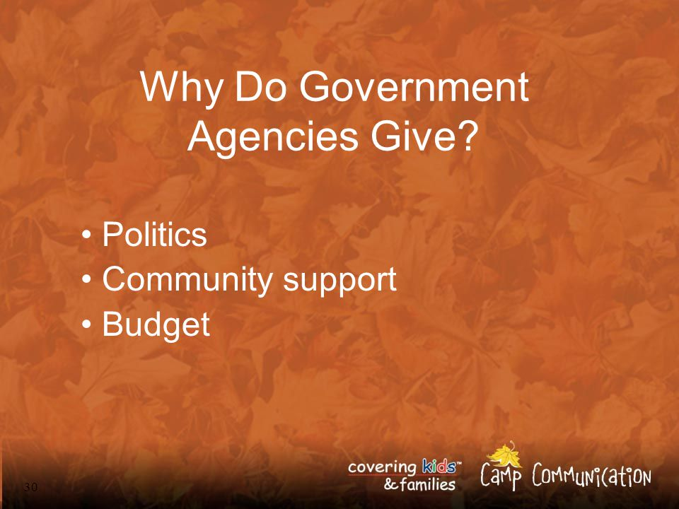 30 Why Do Government Agencies Give? Politics Community support Budget