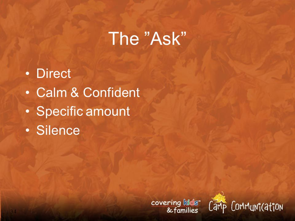 34 The Ask Direct Calm & Confident Specific amount Silence