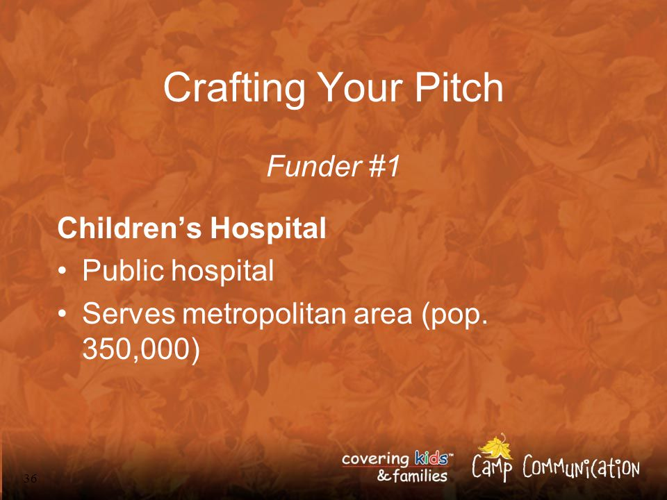 36 Crafting Your Pitch Funder #1 Children's Hospital Public hospital Serves metropolitan area (pop.