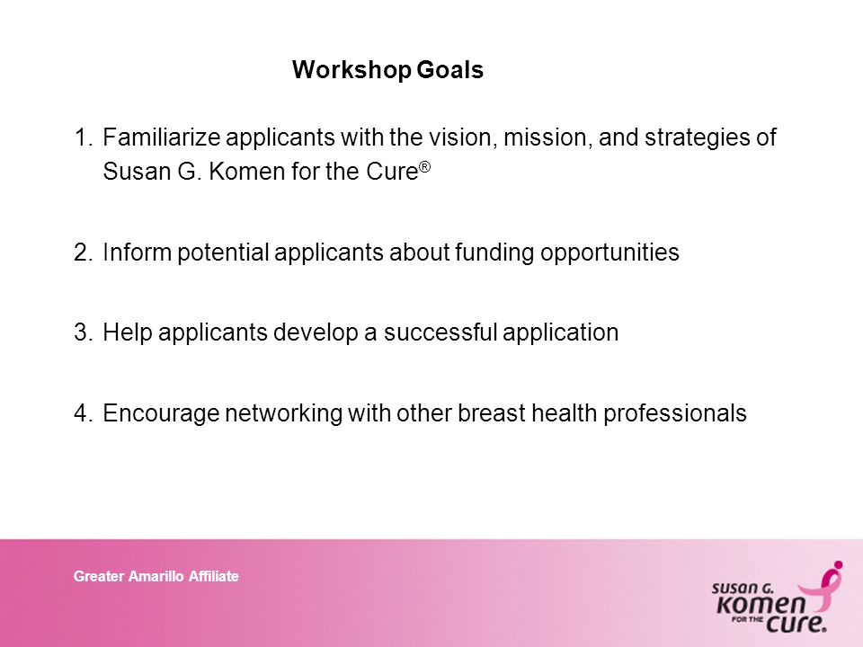 Greater Amarillo Affiliate Workshop Goals 1.Familiarize applicants with the vision, mission, and strategies of Susan G.