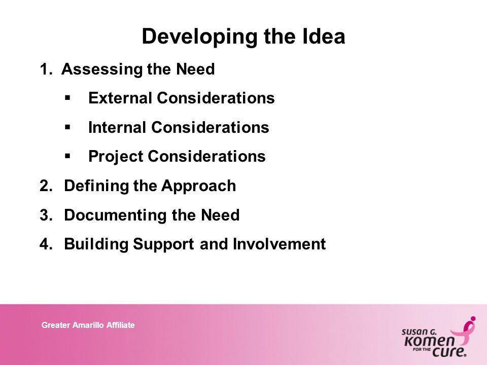 Greater Amarillo Affiliate Developing the Idea 1. Assessing the Need  External Considerations  Internal Considerations  Project Considerations 2.De