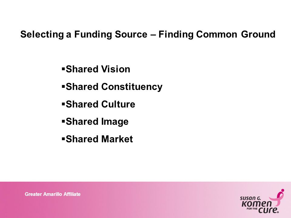 Greater Amarillo Affiliate Selecting a Funding Source – Finding Common Ground  Shared Vision  Shared Constituency  Shared Culture  Shared Image  Shared Market