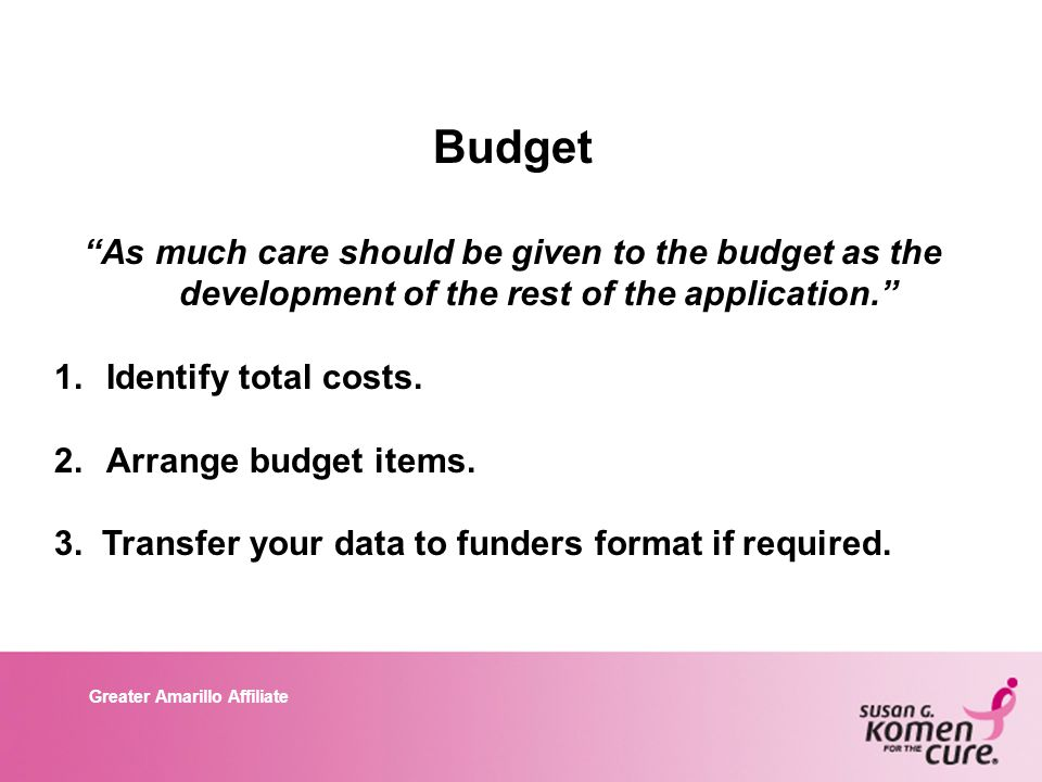 Greater Amarillo Affiliate Budget As much care should be given to the budget as the development of the rest of the application. 1.Identify total costs.