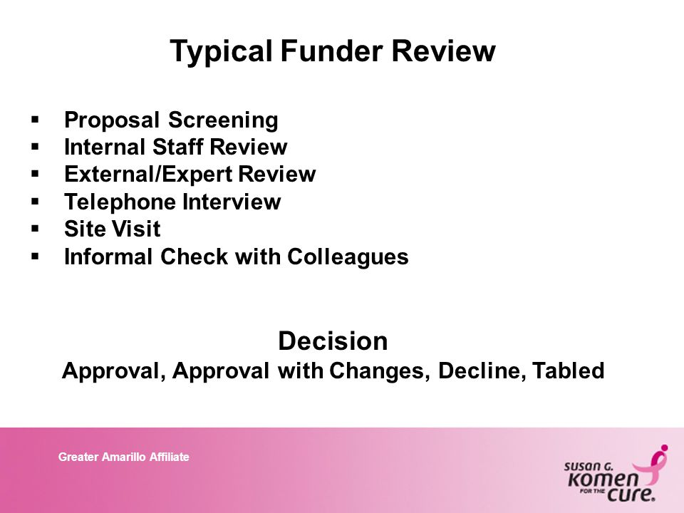 Greater Amarillo Affiliate Typical Funder Review  Proposal Screening  Internal Staff Review  External/Expert Review  Telephone Interview  Site Visit  Informal Check with Colleagues Decision Approval, Approval with Changes, Decline, Tabled