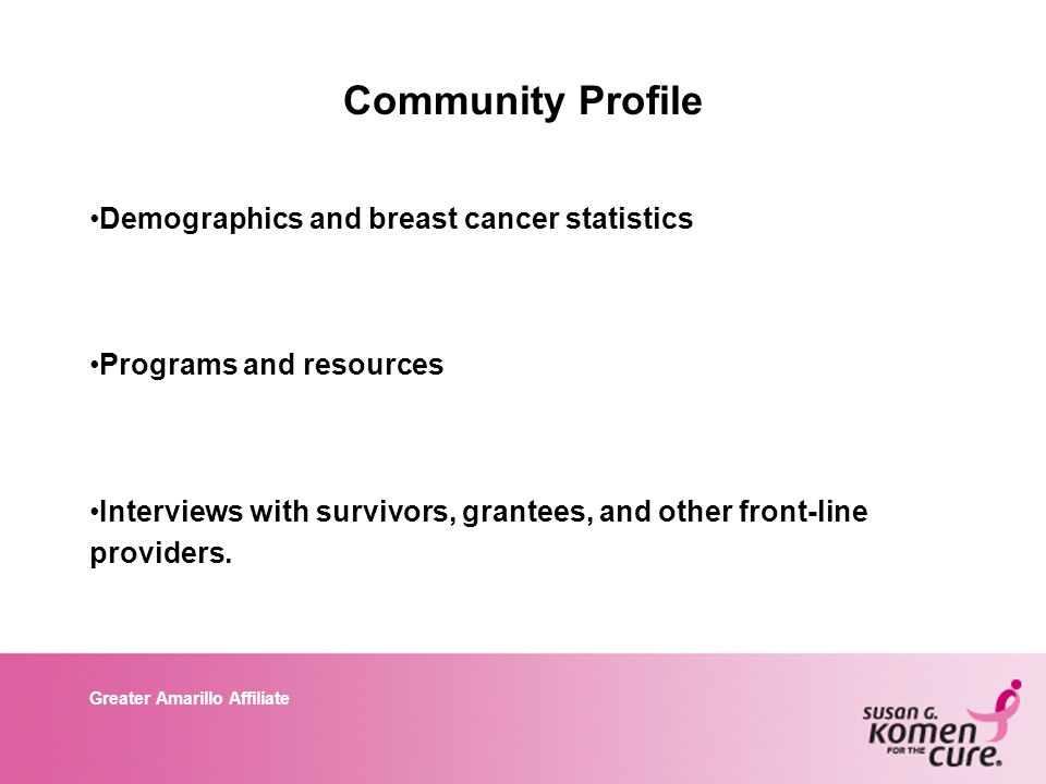 Greater Amarillo Affiliate Community Profile Demographics and breast cancer statistics Programs and resources Interviews with survivors, grantees, and other front-line providers.
