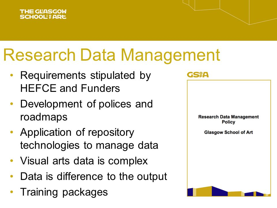 Research Data Management Requirements stipulated by HEFCE and Funders Development of polices and roadmaps Application of repository technologies to manage data Visual arts data is complex Data is difference to the output Training packages