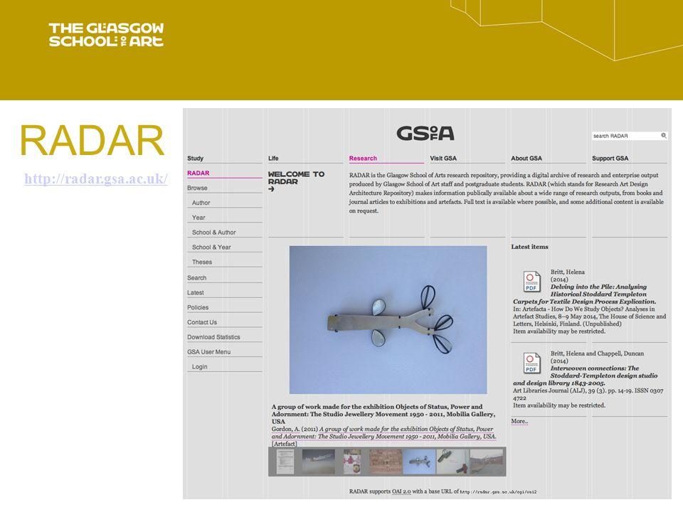 RADAR http://radar.gsa.ac.uk/