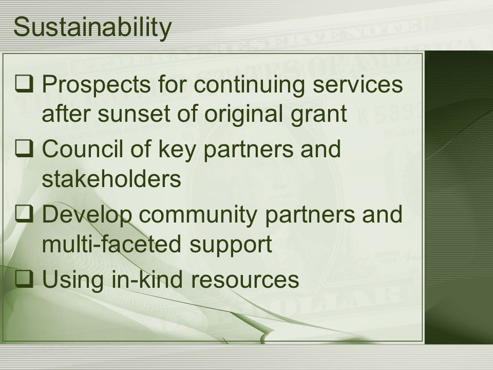 Sustainability  Prospects for continuing services after sunset of original grant  Council of key partners and stakeholders  Develop community partn