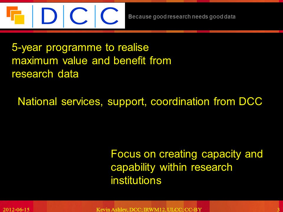 Because good research needs good data 5-year programme to realise maximum value and benefit from research data 2012-06-15Kevin Ashley, DCC; IRWM12, ULCC; CC-BY3 Focus on creating capacity and capability within research institutions National services, support, coordination from DCC