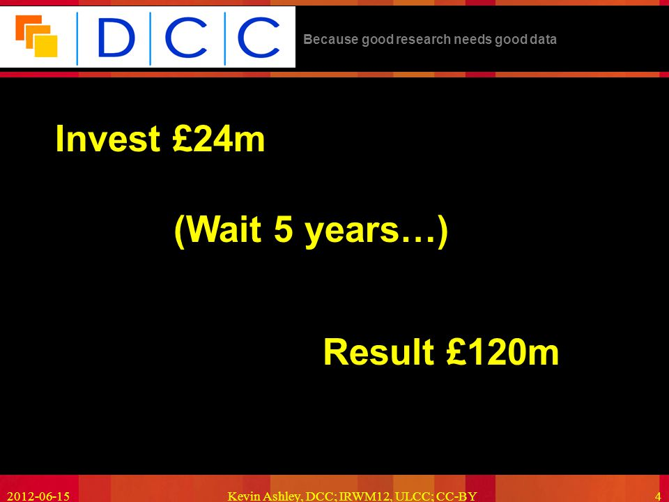 Because good research needs good data 2012-06-15Kevin Ashley, DCC; IRWM12, ULCC; CC-BY4 Invest £24m Result £120m (Wait 5 years…)