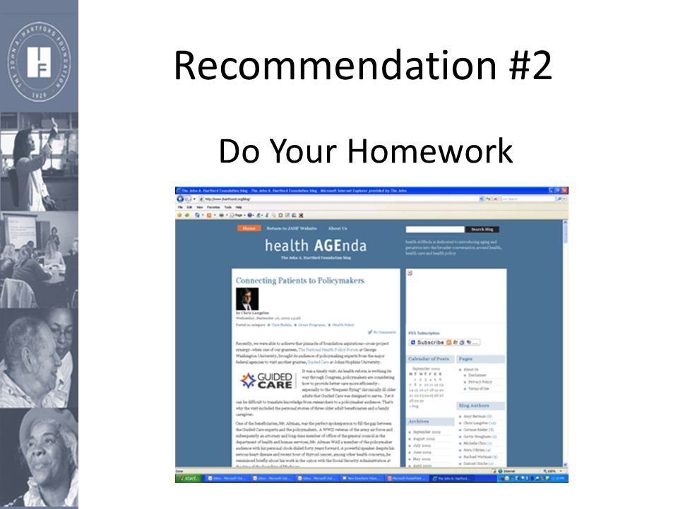 Recommendation #2 Do Your Homework