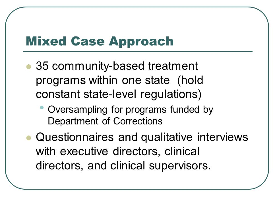 Mixed Case Approach 35 community-based treatment programs within one state (hold constant state-level regulations) Oversampling for programs funded by Department of Corrections Questionnaires and qualitative interviews with executive directors, clinical directors, and clinical supervisors.