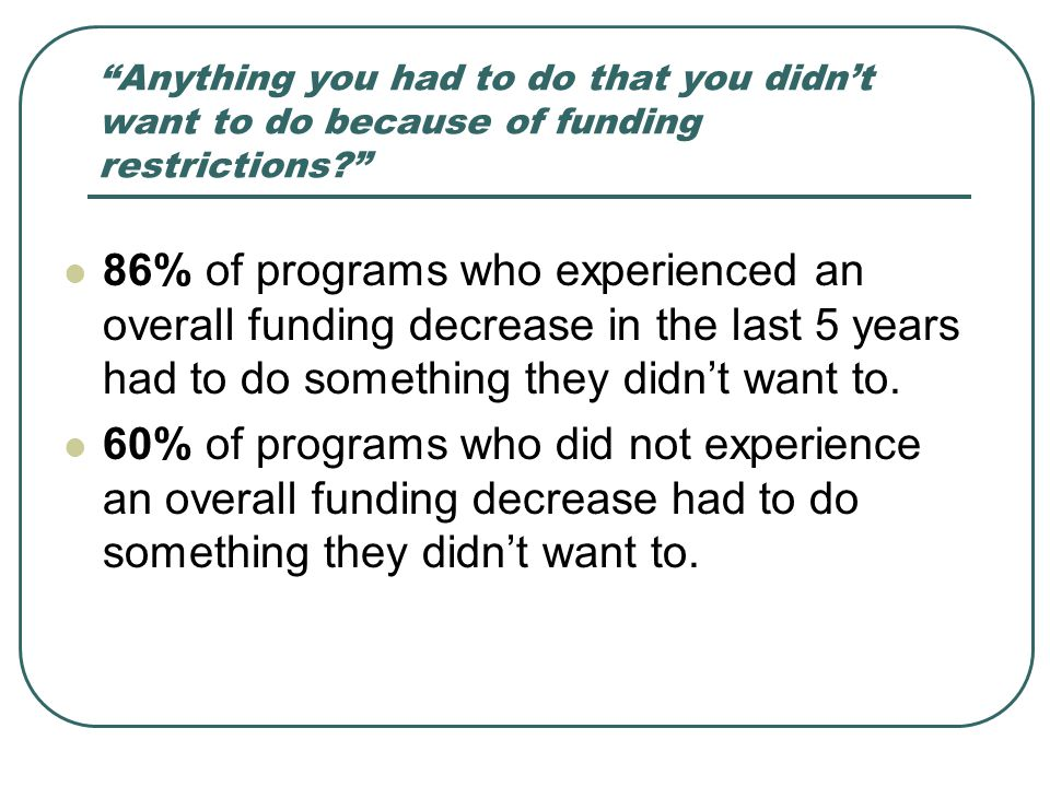 Anything you had to do that you didn't want to do because of funding restrictions? 86% of programs who experienced an overall funding decrease in the last 5 years had to do something they didn't want to.