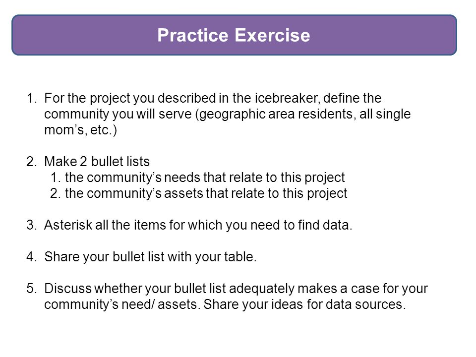1.For the project you described in the icebreaker, define the community you will serve (geographic area residents, all single mom's, etc.) 2.Make 2 bullet lists 1.the community's needs that relate to this project 2.the community's assets that relate to this project 3.Asterisk all the items for which you need to find data.
