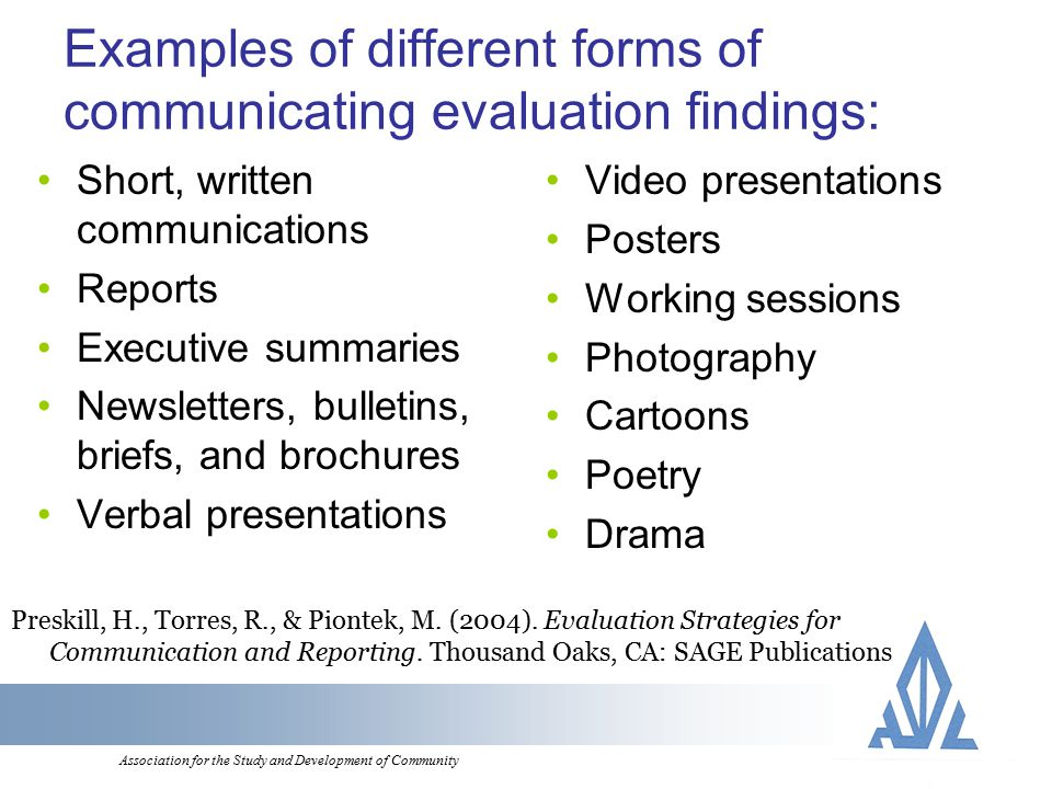 Association for the Study and Development of Community Examples of different forms of communicating evaluation findings: Short, written communications Reports Executive summaries Newsletters, bulletins, briefs, and brochures Verbal presentations Video presentations Posters Working sessions Photography Cartoons Poetry Drama Preskill, H., Torres, R., & Piontek, M.