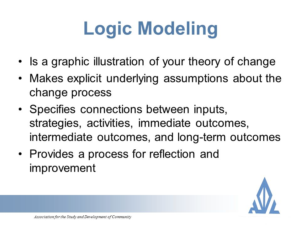 Association for the Study and Development of Community Logic Modeling Is a graphic illustration of your theory of change Makes explicit underlying assumptions about the change process Specifies connections between inputs, strategies, activities, immediate outcomes, intermediate outcomes, and long-term outcomes Provides a process for reflection and improvement