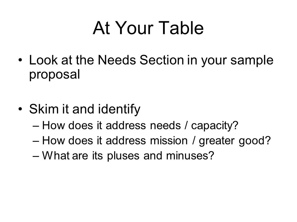 At Your Table Look at the Needs Section in your sample proposal Skim it and identify –How does it address needs / capacity.