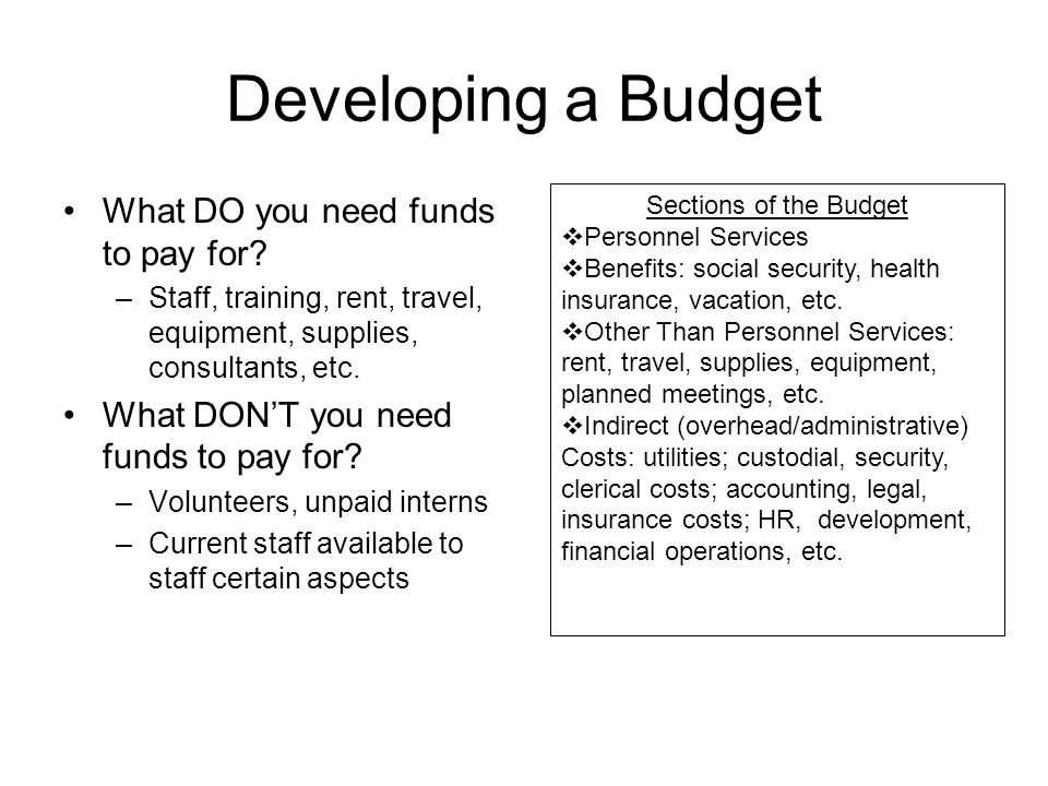 Developing a Budget What DO you need funds to pay for.