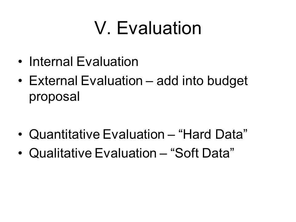"V. Evaluation Internal Evaluation External Evaluation – add into budget proposal Quantitative Evaluation – ""Hard Data"" Qualitative Evaluation – ""Soft"