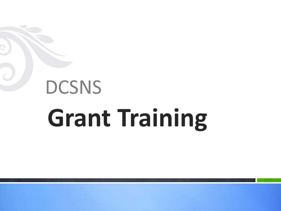 DCSNS Grant Training