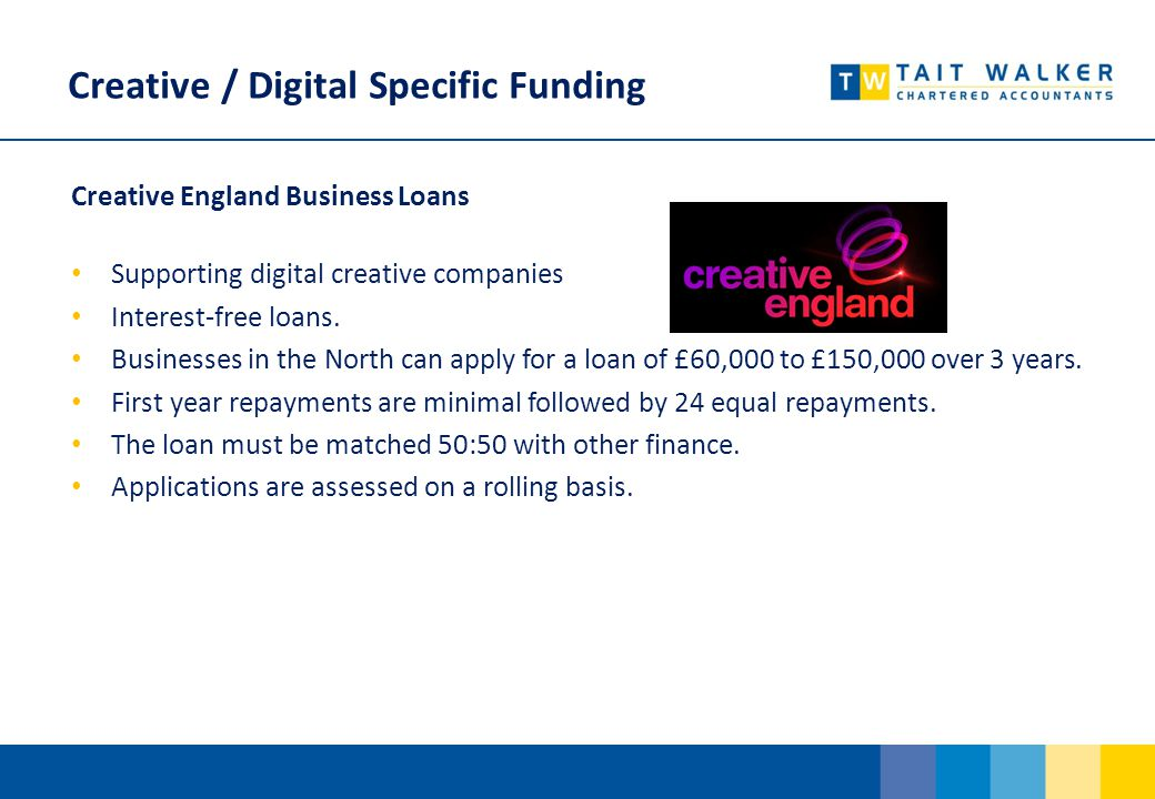 Creative / Digital Specific Funding Creative England Business Loans Supporting digital creative companies Interest-free loans.