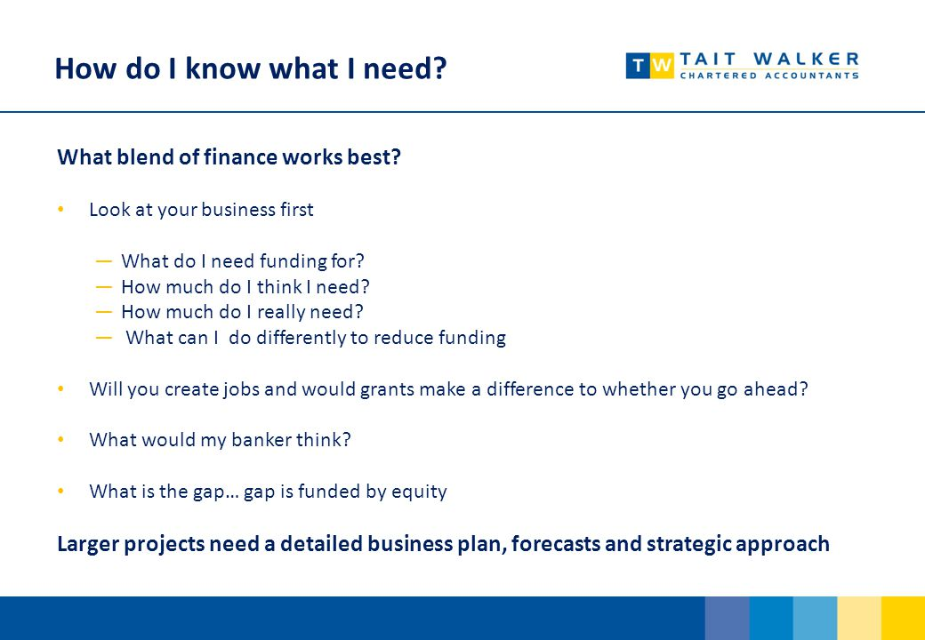 How do I know what I need.What blend of finance works best.