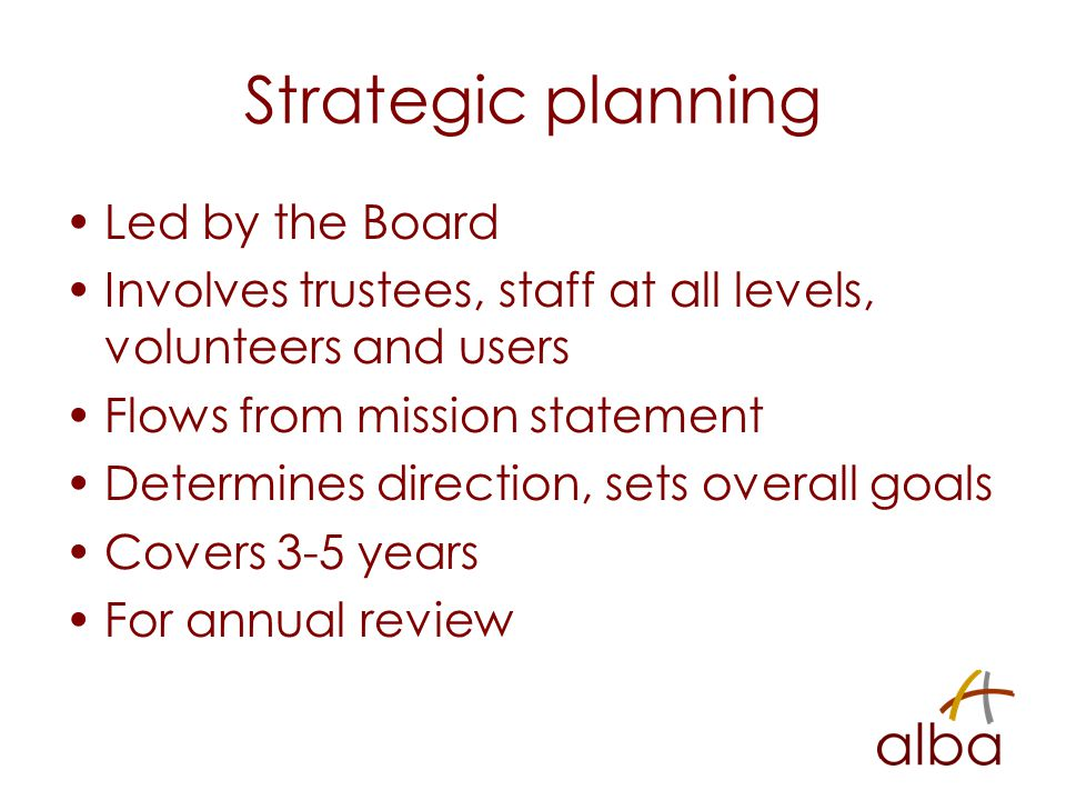 Strategic planning Led by the Board Involves trustees, staff at all levels, volunteers and users Flows from mission statement Determines direction, se