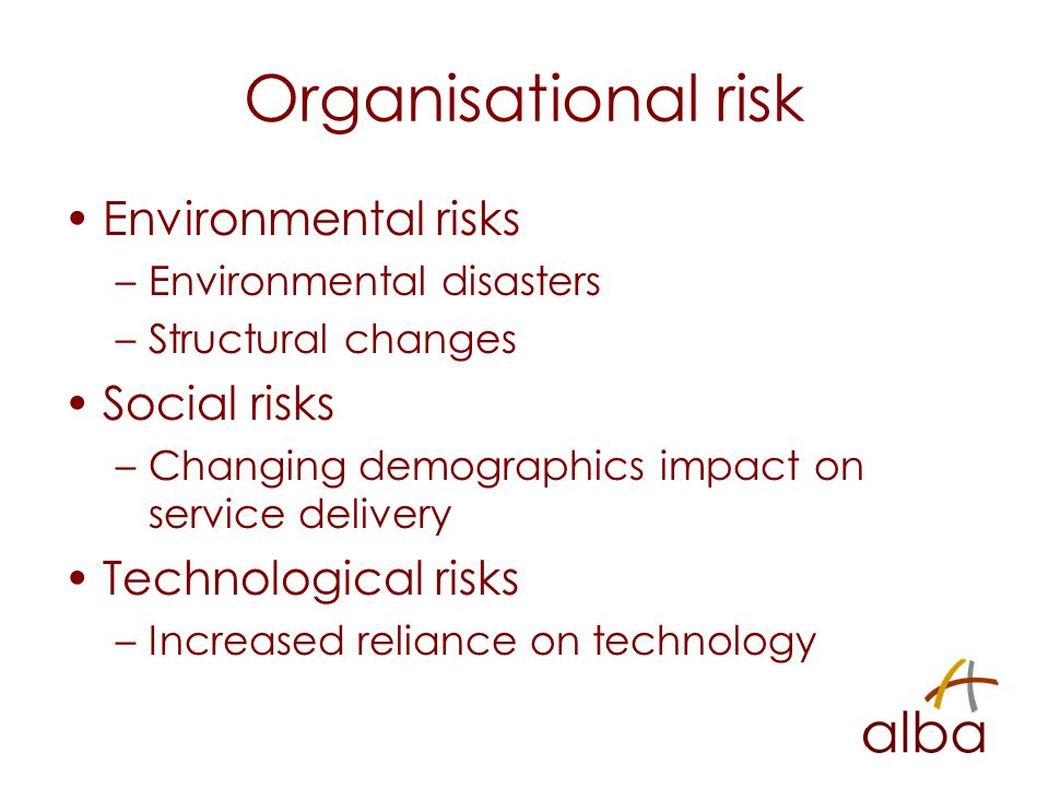 Organisational risk Environmental risks –Environmental disasters –Structural changes Social risks –Changing demographics impact on service delivery Technological risks –Increased reliance on technology