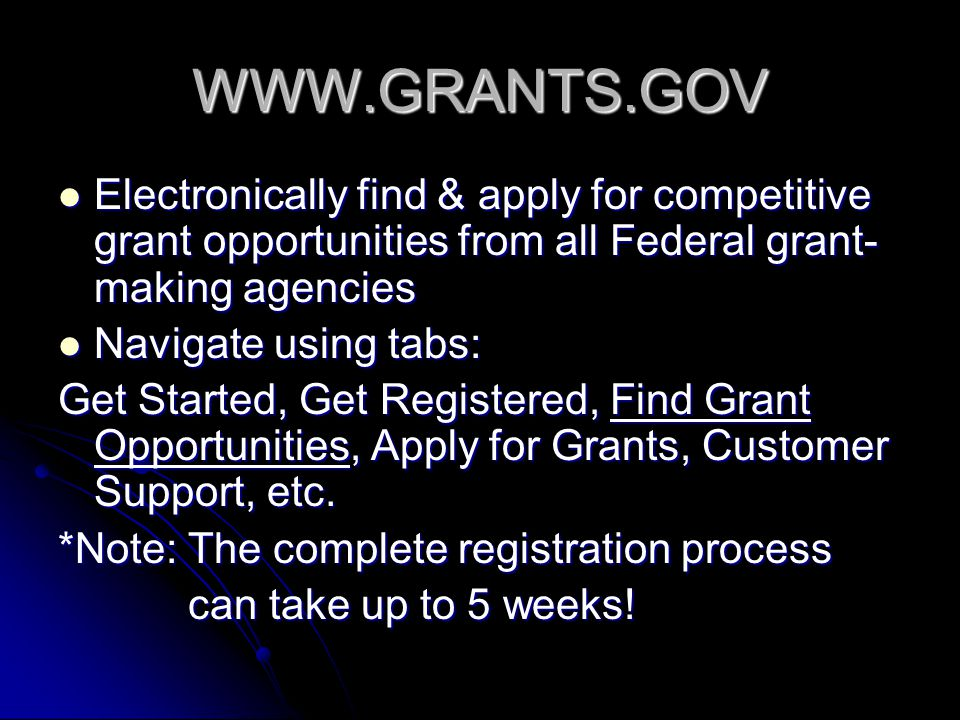WWW.GRANTS.GOV Electronically find & apply for competitive grant opportunities from all Federal grant- making agencies Electronically find & apply for competitive grant opportunities from all Federal grant- making agencies Navigate using tabs: Navigate using tabs: Get Started, Get Registered, Find Grant Opportunities, Apply for Grants, Customer Support, etc.