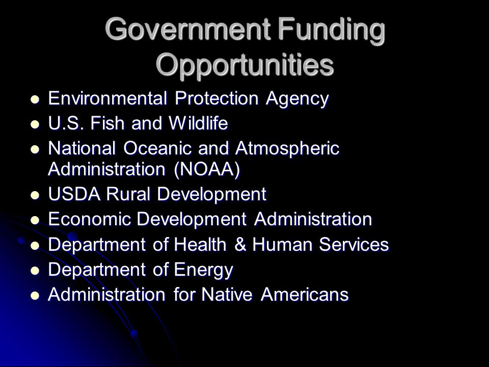 Government Funding Opportunities Environmental Protection Agency Environmental Protection Agency U.S.