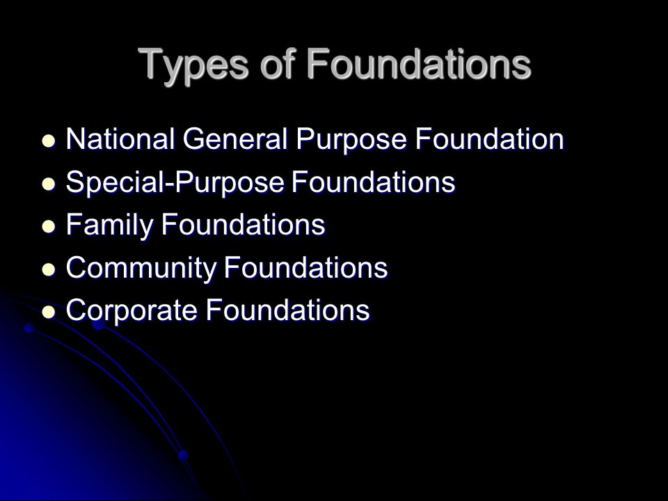 Types of Foundations National General Purpose Foundation National General Purpose Foundation Special-Purpose Foundations Special-Purpose Foundations Family Foundations Family Foundations Community Foundations Community Foundations Corporate Foundations Corporate Foundations