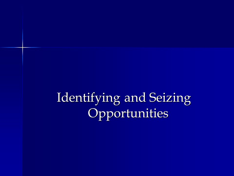 Identifying and Seizing Opportunities
