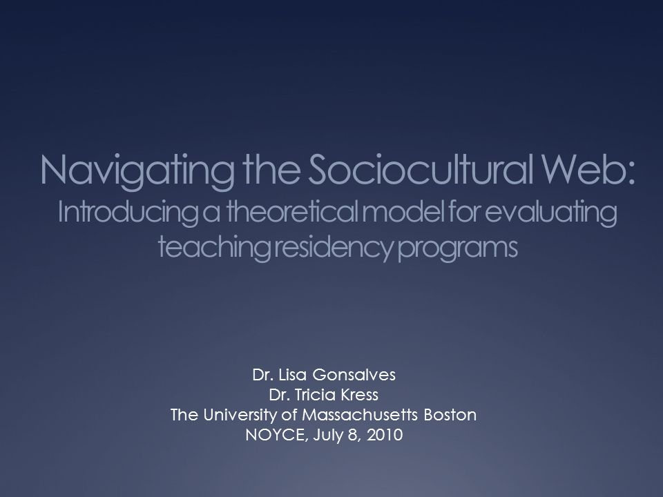 Navigating the Sociocultural Web: Introducing a theoretical model for evaluating teaching residency programs Dr.