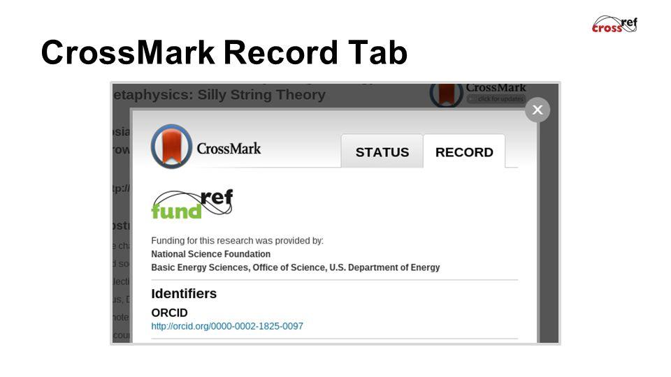 CrossMark Record Tab