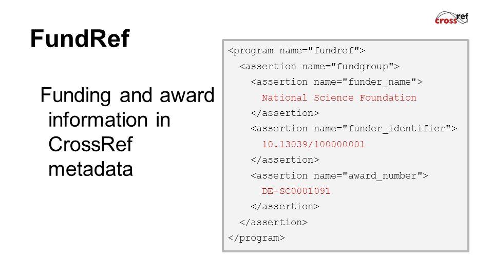 FundRef Funding and award information in CrossRef metadata National Science Foundation 10.13039/100000001 DE-SC0001091